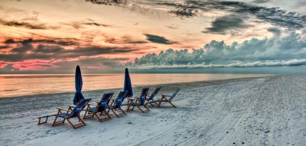 查看,日落,美丽,海滩,云,天空,人类发展报告,日落,沙子