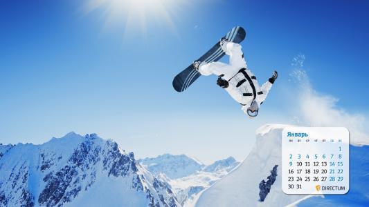 滑雪板,雪,山,太阳,天空