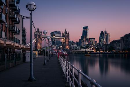 河,海滨,灯笼,建筑物,水,晚上,城市,伦敦