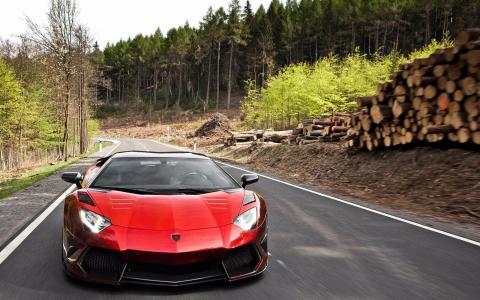 兰博基尼,超级跑车,道路,森林,兰博基尼