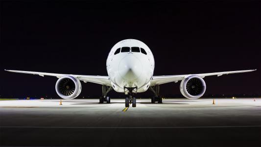 波音787,b787,梦想)班轮,飞机,机场,晚上,晚上