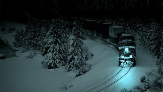 机车,晚上,雪