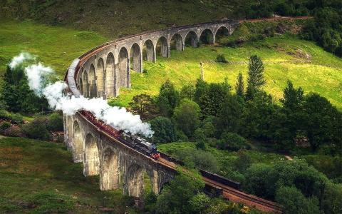 火车,烟,桥,森林