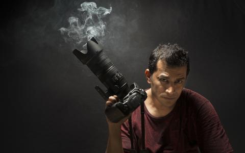 男人,相机,烟雾