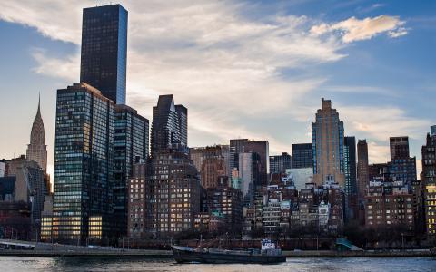 纽约,摩天大楼,船,河