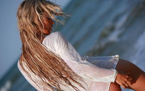 湿,金发,t恤,沙,看,女孩