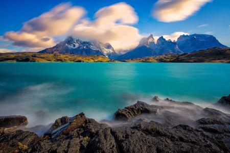 云,山,湖,麦哲伦,智利
