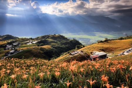 自然,风景,台湾,丘陵,天空,山谷,云