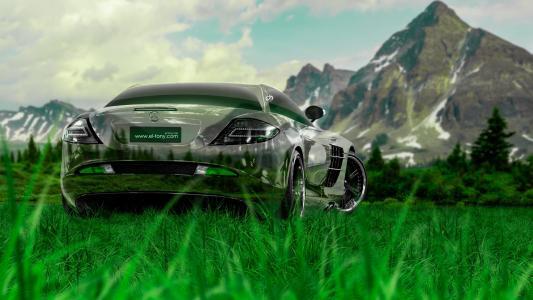 托尼·柯汗,梅赛德斯·奔驰,单反,迈凯轮,水晶,性质,车,绿色,草,优化,梅赛德斯,托尼汽车,Photoshop,高清壁纸,设计,艺术,风格