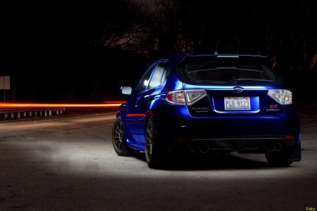 斯巴鲁,蓝色,后方,夜间,头灯