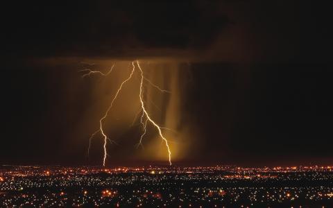 闪电,夜晚,城市