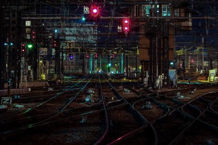 铁路,夜,城市