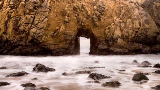在岩石洞,开放,海洋门,水,岩石