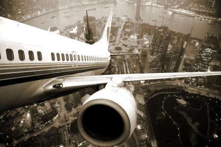 飞机,起飞,引擎,城市,上海,中国,黑色,白色,背景
