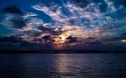 照片,湾,桥,天空,美丽
