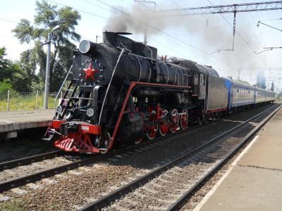 蒸汽机车在车站Rusanovka在基辅,在基辅的蒸汽机车