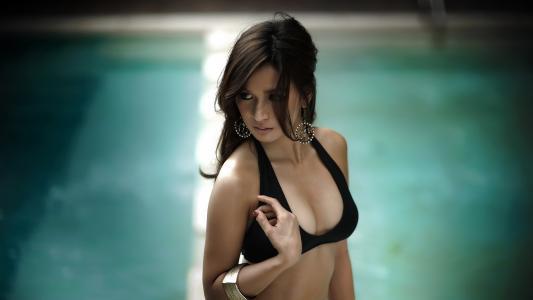 阵列卡斯特罗,女孩,泳装,游泳池,亚洲