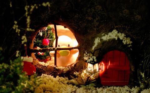 房子,鸭,新年,圣诞节,雪