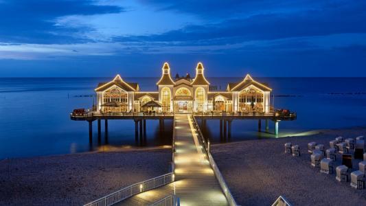 德国,餐厅,夜,海,海岸,灯,照明,建筑,天空