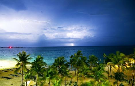 热带,沙滩,阴,雷暴,闪电,危险,美丽
