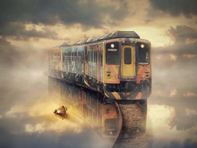 火车,水,灯