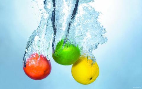 水果,水,秋天,效果,颜色,苹果,石灰,柠檬