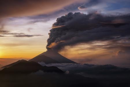 火山,山,巴厘岛