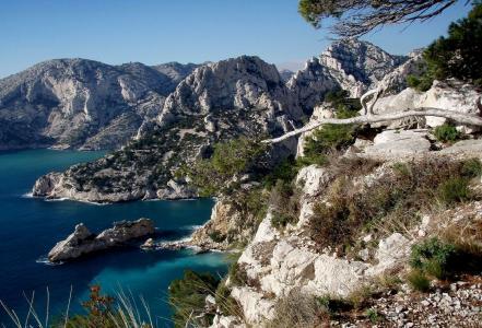 法国,海岸,岩石,美女,天空