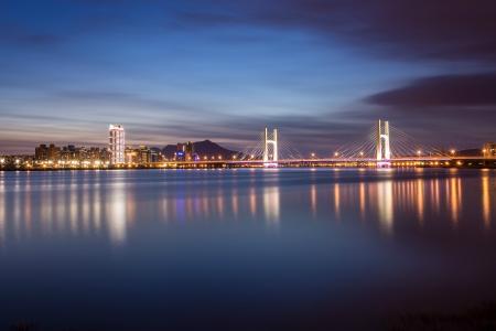 台湾,台北,桥,灯,反射,城市,中国,cnr,中国,夜晚,河流