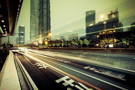 城市,城市,灯光,建筑物,道路,摩天大楼,大都会