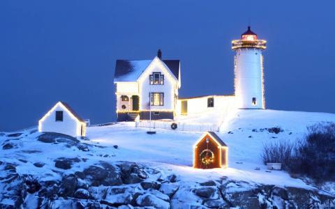 灯塔,房子,圣诞节,雪,花环,冬天,舒适