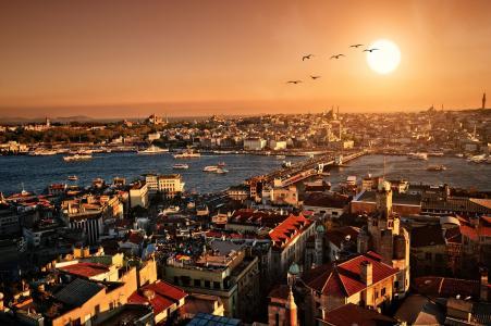 晚上,城市,日落,伊斯坦布尔,土耳其,全景,风景,伊斯坦布尔