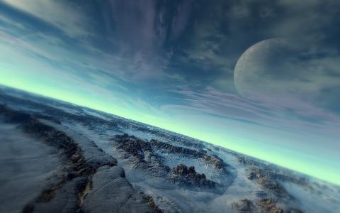 雪,冷,石头,天空,行星,表面