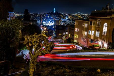 美国,旧金山,路,灯,夜,照明,路,美女