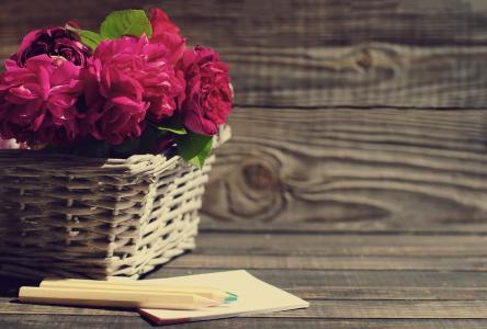 篮子,鲜花,玫瑰,铅笔,纸