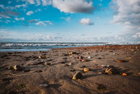 海,海岸,石头,天空,波罗的海泽列诺格拉茨克,海滩,沙,地平线,云,性质