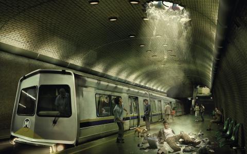 家伙,失败了,在地铁里,惊吓,洞,创意