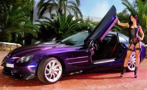 奔驰,超级跑车,女孩,黑发,姿势,跑车,颜色,紫罗兰色,照片,停车场,棕榈树,房子