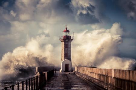 照片,灯塔,波,喷雾,风暴,天空,阴