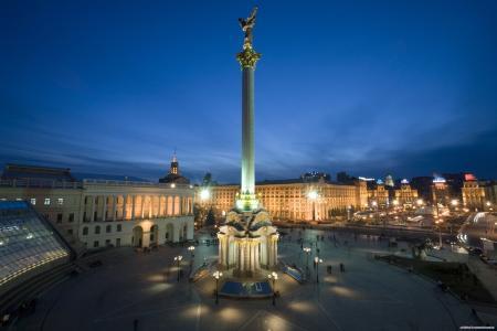 基辅,Maydan,乌克兰,雕像,晚上,火,城市,美容