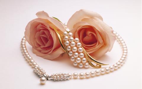 二,珍珠,玫瑰,胸针