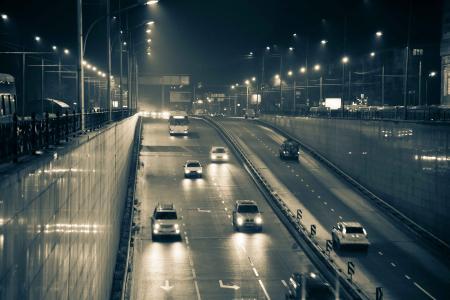 汽车,灯光,夜晚,隧道入口,城市灯光