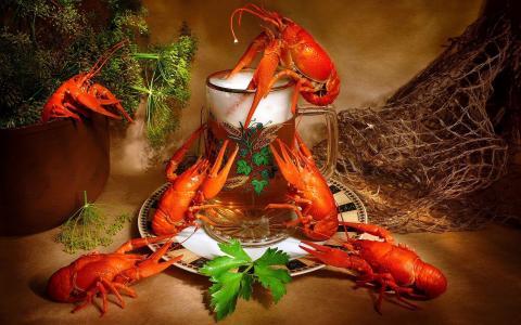海鲜,小龙虾,啤酒