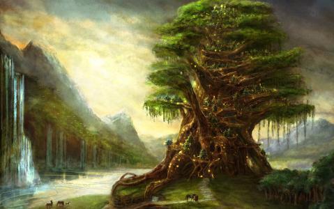 树,精灵,瀑布,绘画,魔术