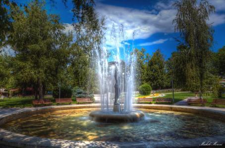 保加利亚,公园,喷泉,树木,板凳,Hissarya,性质