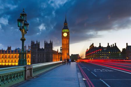 建筑物,在晚上,大笨钟,伦敦,街道,英格兰,城市,灯笼,灯