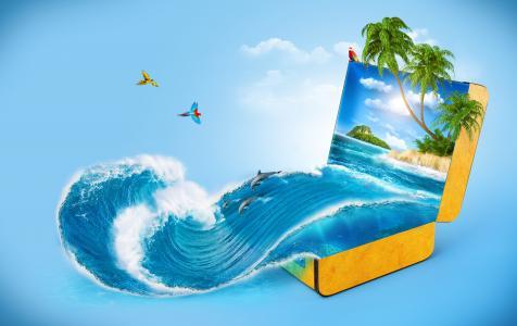 幻想,手提箱,图像,思想,假期,photoshop,工作