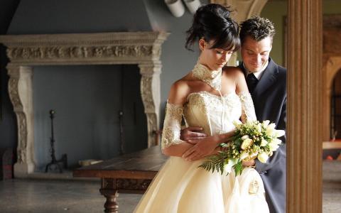 拥抱,瞬间,庄严的一天,婚礼,情侣