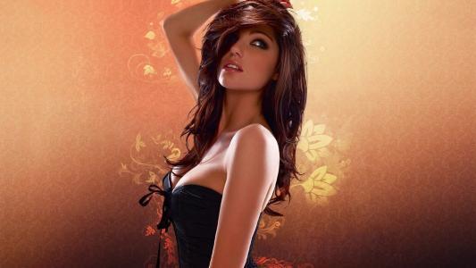 路易丝·克利夫,性感,图,脸,看,眼睛,嘴唇,头发,美女,背景