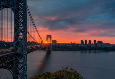 桥梁,水,城市,天空,阳光,美国,纽约,摄影师戴维戴